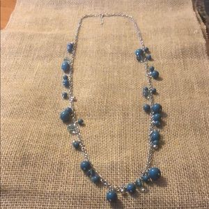 Long turquoise and silver necklace!